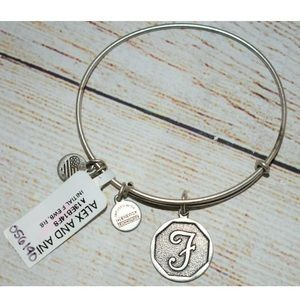 New Alex and Ani Silver Letter F Charm Bracelet